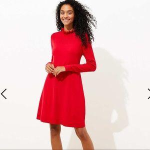 LOFT Ruffle Pointelle Sweater Dress